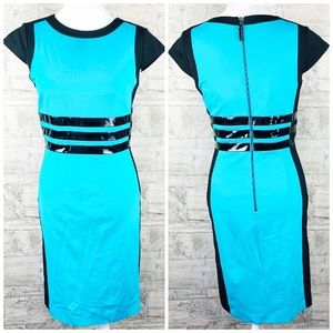 Nue by shani color block blue and black dress sz4